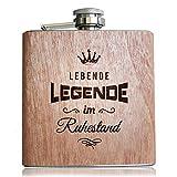 Holz Flachmann Lebende Legende im Ruhestand | Lustige Geschenk Idee zur Rente/Pension. Alkohol