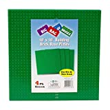 """Brick Building Extra Large Base Plates (4 Pack) - 10""""x10"""" Green Stackable Baseplates for Toy Bricks & Blocks - Compatible w/ All Major Brands - Dual Side Connectivity"""