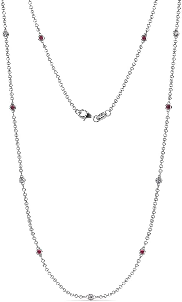 TriJewels 11 Station Petite Ruby and Diamond on Cable Necklace 0.28 ctw in 14K White Gold
