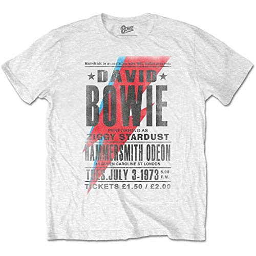 David Bowie Camiseta Hammersmith Odeon para hombre, color blanco