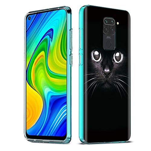 ZhuoFan Funda para Xiaomi Redmi Note 9 4G, Cárcasa Silicona Transparente con Dibujos Diseño Suave TPU Antigolpes de Protector Piel Case Fundas para Redmi Note 9 4G / Redmi 10X 4G, Gato Negro