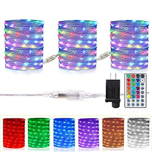 HAHOME 120FT 360 LEDs Extendable Rope Lights, 16 Color Changing Outdoor String Lights