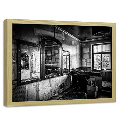 Feeby Imagen Marco Color de la Madera Ruina Cuadro Edificio Blanco y Negro 60x40 cm