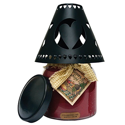 A Cheerful Giver Metal Candle Shade - Black Heart Decorative Tin Candle Shade Fits Most Cheerful Giver 16 oz. & Larger Jar Candles - Lovely Candle Accessories