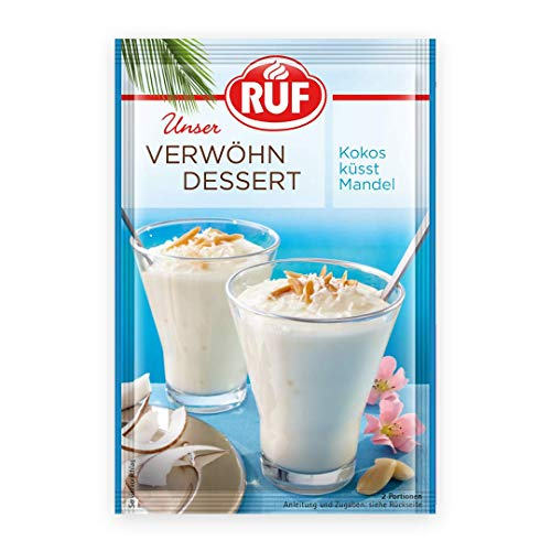 RUF Verwöhn Dessert Kokos-Mandel wie weiße Praline mit Kokos, cremige Konsistenz mit Mandel Kokos Geschmack, 11er Pack (11 x 75 g)