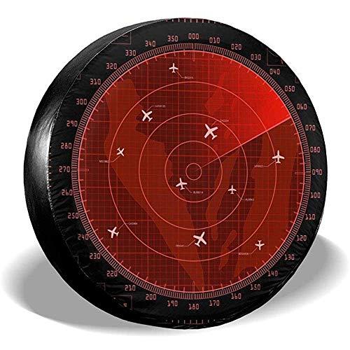 Niet van toepassing Tire Diameter Rode Radar Scherm Met Vliegtuigen Universele Reserveband Cover Voor Rv Trailer Jeep Suv Truck Wheel Accessoires 16in/76~79cm 1