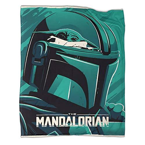 Manta decorativa ligera para cama, sofá, póster mandaloriano de Star Wars de fácil cuidado para todas las estaciones, manta de cama de 180 x 230 cm