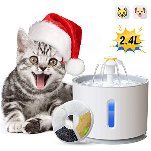 ADOV Fuente para Gatos, 2.4L Dispensador Automático de Agua Eléctrico con Luz LED, Filtro de Reemplazable y Adaptador USB, Flor Portátil Estilo Bebedero para Gatos, Perros y Pequeños Animales (Gris)