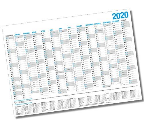 XXL Wandkalender 2020 / Kalender Jahresplaner - 14 Monate Jahreskalender + Gratis Urlaubsplaner 2020 (86 x 59 cm)