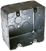 Hubbell-Raco 683 Two-Device Switch, 4-Inch. Square Box 2-1/8-Inch Deep, 1/2-Inch and 3/4-Inch Side Knockouts, Drawn, Gray Finish