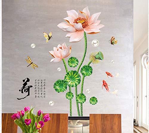 XIAOBAOZIQT Muursticker Decal Decals aftrekplaatjes Lotus-karaf Moderne kantoorstudeerkamerslaapkamerwandkast TV achtergrond decoratieve muurstickers muurschildering