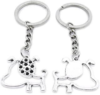 Metal Antique Silver Plated Keychains Keyrings Keytag YK107 Pet Dog Puppy Key Chain Ring