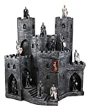 Ebros Gift Medieval Grand Royal Burgundy Stonewall Castle Fortress Display Stand Sculpture with 12 Miniature Knights of The Cross Crusaders Figurines Set Old World Kingdoms and Fantasy Accent Statues