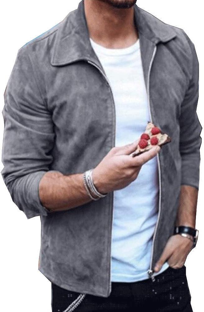 Astellarie Mens Genuine Leather Suede Jacket, Slim Fit Solid Color Zipper Bomber Coat