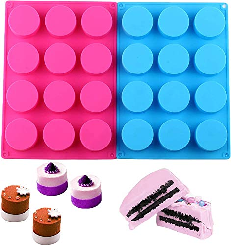 NHXTDWL Round Chocolate Cookie Molds,12-Cavity Round Silicone Baking Molds for Candy Mini Soap, Cake Bread Cupcake Cheesecake Muffin and Jello (2 Packs)
