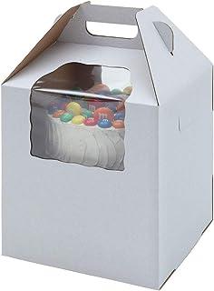 "WPackaging Plain Tall White/Kraft Cake-Carrier Box 12"" x 12"" x 14"" High with Window - 3 Each"