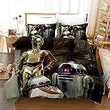 SSIN Star Wars The Force Awakens - Juego de cama para niños con sábana bajera ajustable, juego de cama de hoja suave, microfibra, impresión digital 3D, juego de 3 piezas, 13, 135 x 200 cm