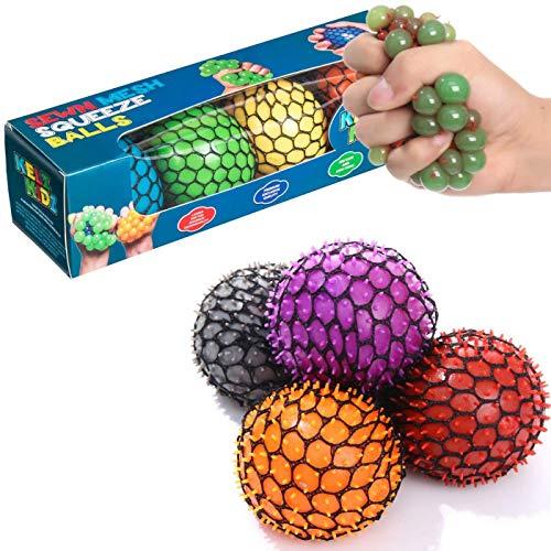 KELZ KIDZ Quality & Durable Medium (2.5 Inch) Spiky Mesh Squishy Balls with Exclusive Sewn Mesh! (Multi, 4 Pack)