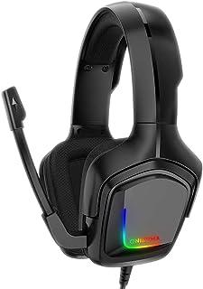 Audífonos Gamer Auriculares para Juegos para PS5, PS4 Auriculares con Micrófono,7.1 Sonido Envolvente Estéreo con Micrófono 360 ° Giratorio con Cancelación de Ruido y Control de Volumen y Silencio, Auriculares Ergonómicos Ligeros y RGB Geniales para Xbox One, Switch, PC K20RGB