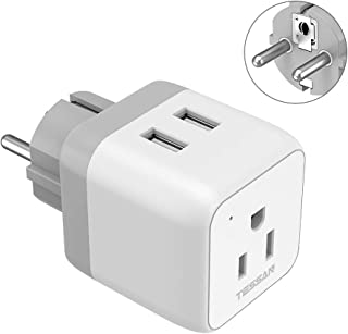 Germany France Power Plug Adapter, TESSAN 4000W Grounded European Travel Plug with 2 USB Ports, Schuko Plug Adaptor for US to Europe Iceland Russia Norway Poland Greece - Type E/F
