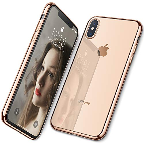 DTTO iPhone Xs Case, Clear Soft TPU Cover Case with Metal Luster Protactive Edge for Apple iPhone Xs(2018), Also Compatible with iPhone X(2017) 5.8 Inch, Gold
