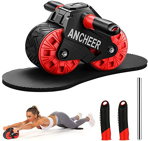 ANCHEER Ab Roller Wheel for Abs Workout with Knee Pad Mat and Intelligent Display, Fitness Ab Carver Pro Roller Automatic Rebound for Abdominal Exercise Portable Ab Workout Equipment for Men Women