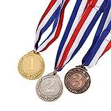 STOBOK medallas de Metal con Collar Oro Plata Bronce olympischen Estilo para Deportes Académico o Cualquier Competencia Diámetro de 5,1cm Kleine Trigo patrón 3pcs (Oro * 1+ Plata * 1+ Bronce * 1)