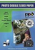 PPD A4 x 50 Hojas de Papel a Doble Cara Para Folletos de Calidad Fotográfica con Acabado Brillante - Gramaje de 140 g/m² y Secado Instantáneo - Para Impresora de Inyección de Tinta Inkjet - PPD-72-50