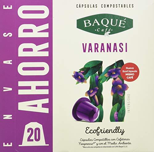 Cafés Baqué - 20 Capsulas Compatibles Nespresso Varanassi - Intensidad 11 De 10 - Capsulas Compostables 100 g