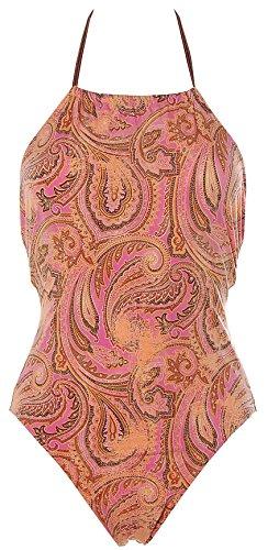 Rasurel Damen Neckholder Badeanzug Paisley Beachwear Rose 36