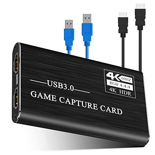 Viixm キャプチャーボード 4K HDMI USB3.0 ビデオキャプチャカード ゲーム 1080P 60FPS HD画質 Windows/Linux/Mac OSX 対応 PC / PS3 /PS4 / Xbox/Switch/Wii U/OBS、XSplit、ZOOM、Potplayer、twitch、Youtube適用 ゲーム実況・録画・配信 ライブ会議用 黒