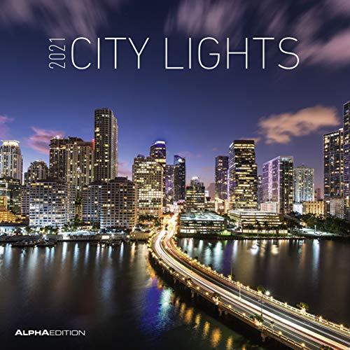 Alpha Edition - Calendario 2021 da muro City Lights, 12 Mesi, 30x30 cm (30 x 60 aperto)