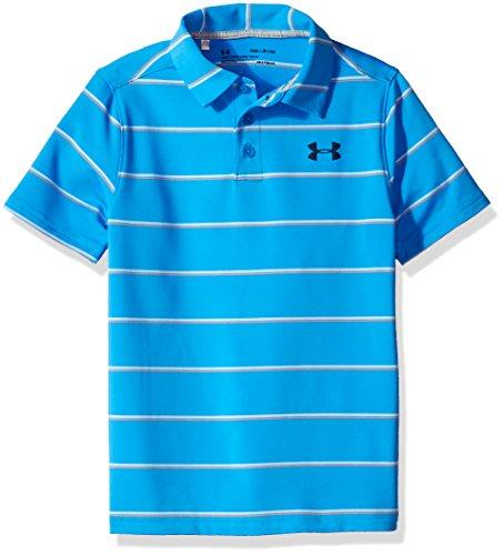 Under Armour Boys' Playoff Stripe Polo Shirt,Mako Blue (983)/Academy, Youth Medium
