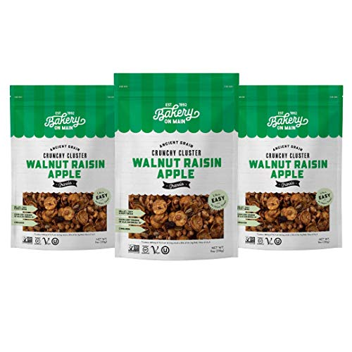 Bakery On Main, Gluten-Free Granola + Ancient Grains, Vegan & Non GMO - Walnut Raisin Apple, 11oz (Pack of 3)
