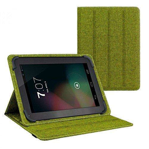 eFabrik Tasche für Alldaymall A10X 10.1 Zoll Schutz Hülle Case Cover türkis-grün und grau Leinen