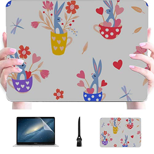 New MacBook Air Case Cute Bunnies in A Cup Plastic Hard Shell Compatible Mac Air 13' Pro 13'/16' Mac Book Air Case Protective Cover for MacBook 2016-2020 Version