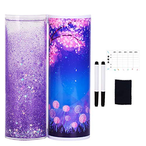 FinWell Quicksand Stationery Box Transparent Cylindrical Pencil Case Multi-Function Pen Case Portable with Mirror and Calculator