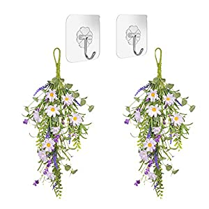 HOVEYY Artificial Daisy Flower Swag, 2PCS Decorative Flower Swag Wreath Hanging Spring Summer Floral Swag for Weeding Home Wall Decor