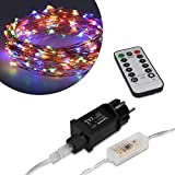 Kwmobile Tira de luces LED 20M - luz LED decorativa con mando a distancia 8 modos de iluminación ajustables - 200 LED multicolores interior exterior