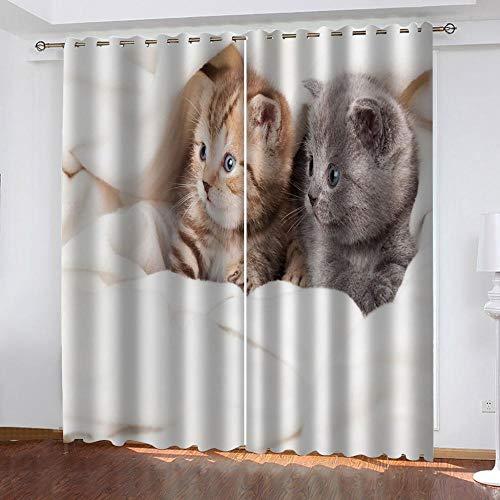 PTBDWOSA Cortinas Salón Moderno - Cortinas Opacas Impresión Digital 3D Gato Animal Adecuado para Dormitorio Sala De Estar Oficina Decoración 182(W) X214(H) Cm 2 Paneles
