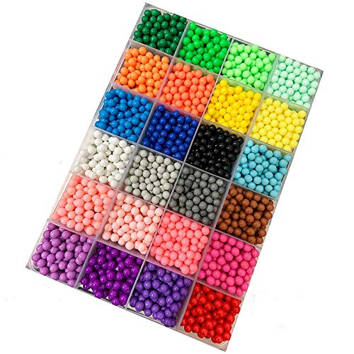 Water Fuse Beads 5mm 24 Colors 3000pcs Fuse Beads for Kids Water Sticky Beads Kit Craft Water Spray Beads Refill Art Crafts Toys DIY Craft Fuse Beads for Kids Children Beginners DIY Art Set