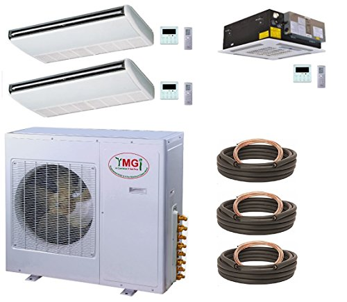 YMGI Three Zone Air Conditioner - 42000 BTU 3.5 Tons 21 SEER (9K+9K+24K) Ceiling Suspension and Ceiling Cassette Ductless Mini Split with Heat Pump for Office Shop, Restaurant Cafe, Library