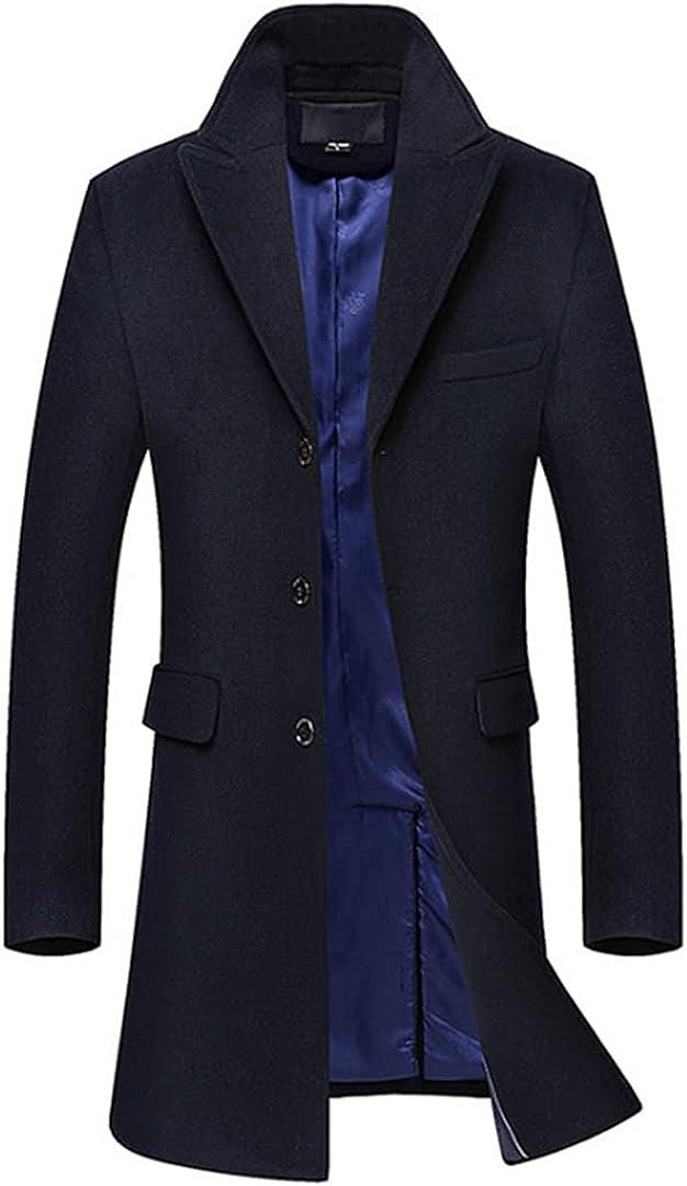 Men British Style Trench Coat Male Casual Long Woolen Outwear Wool Blend Jacket