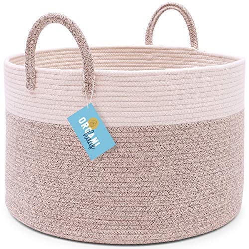 OrganiHaus XXL Extra Large Cotton Rope Basket  20x135 Blanket Storage Basket with Long Handles  Decorative Clothes Hamper Basket  Baby and Kids Room Toy Bin  Blanket Basket