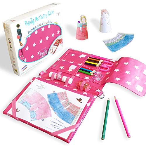 Pipity Art Set for Girls with Stationery and Activity Book: Paper Craft, Art, Travel Games and Puzzle Activities. Great Gifts for Girls ages 6-10 Year Olds. Pink Case