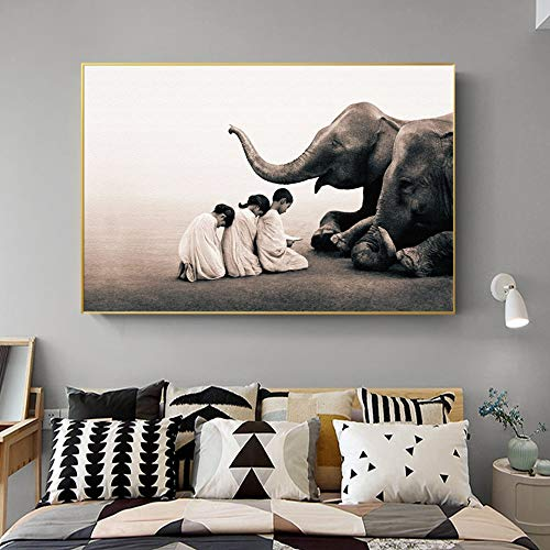 No Frame-Buddha Modern Canvas Painting Nordic Poster Prints Zen Elephant Religion Art Wall Picture For Living...
