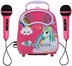 N\\A Kids Karaoke Machine wirh 2 Microphones Rechargeable Karaoke Music Machine with Toy Microphone for Singing Karaoke Speaker with Voice Changer for Girls Toddlers