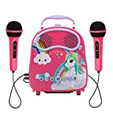 N\A Kids Karaoke Machine wirh 2 Microphones Rechargeable Bluetooth Karaoke Music Machine with Toy Microphone for Singing Karaoke Speaker with Voice Changer for Girls Toddlers
