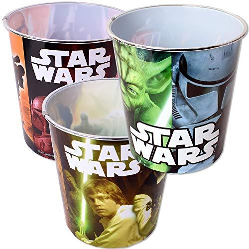 TE-Trend Juego de 3 cubos de basura con diseño de Star Wars, para niños, para habitación infantil, 5 L, plástico, multicolor
