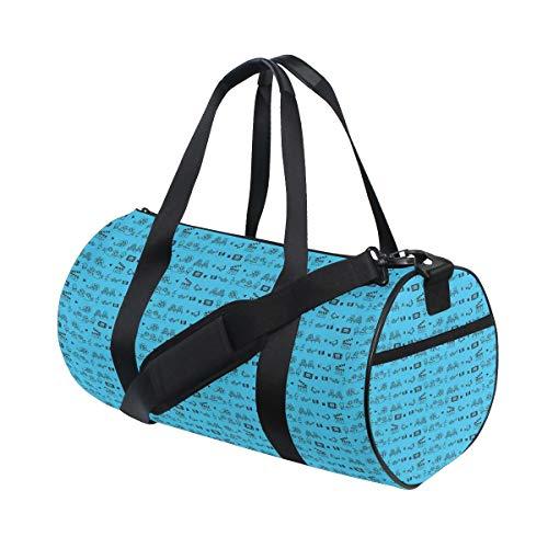HARXISE Sporttasche Reisetasche,Doodle Style Kino Kino Icons Kamera Sitz Popcorn Clapper,Schultergurt Handgepäck für Übernachtung Reisen